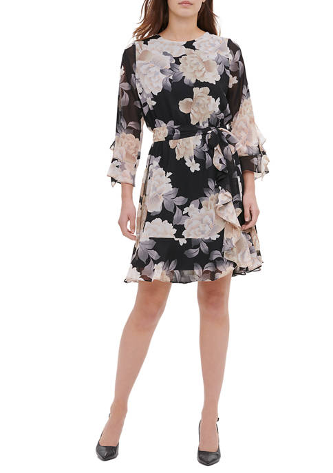 Calvin Klein Womens Long Sleeve Ruffle Print Chiffon