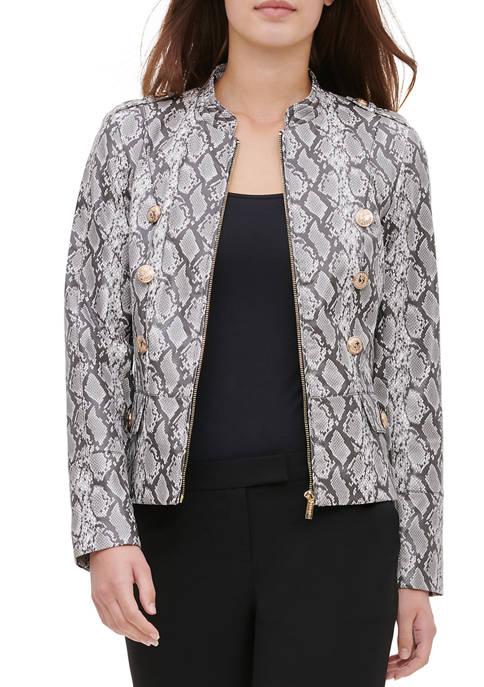 Calvin Klein Womens Faux Leather Snake Print Jacket