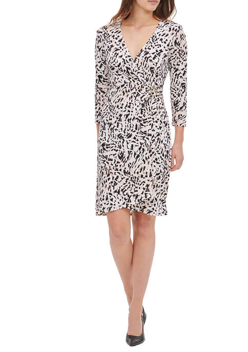 Calvin Klein Womens Printed Wrap Dress with Hardware