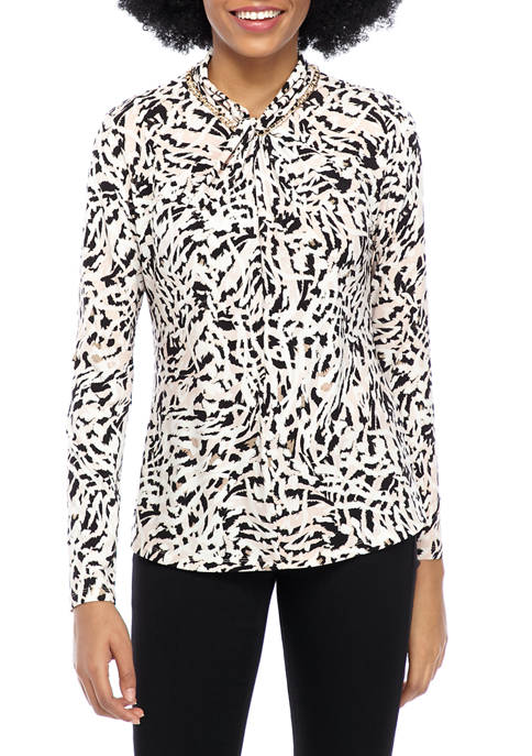 Calvin Klein Womens Long Sleeve Printed Twist Neck