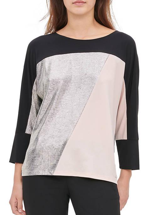 Calvin Klein Womens Dolman Sleeve Color Block Knit