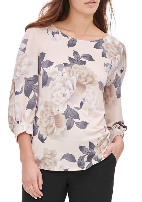 Calvin Klein Womens Blouson Sleeve Printed Knit Blouse