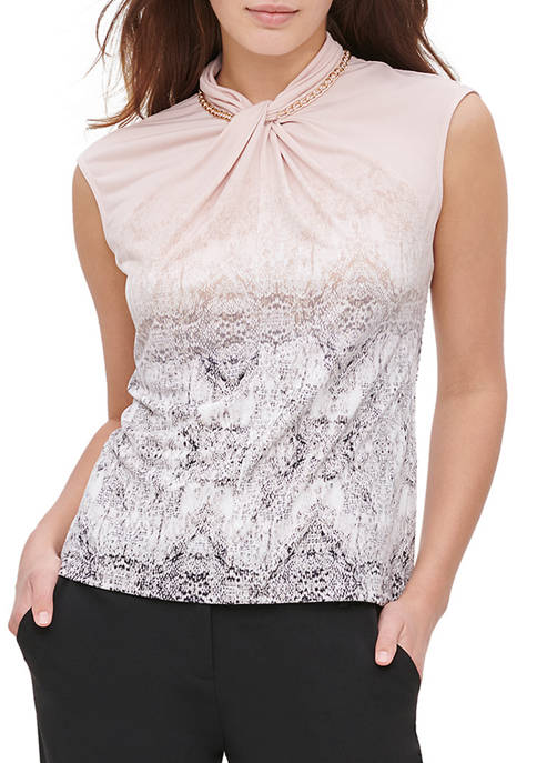 Calvin Klein Womens Printed Sleeveless Knit with Hardware