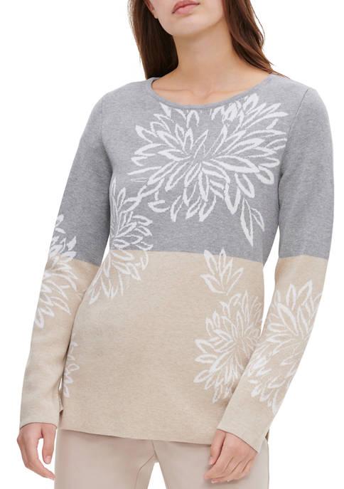 Calvin Klein Womens Floral Jacquard Sweater