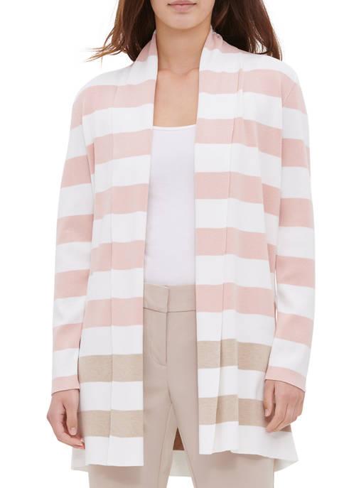 Calvin Klein Womens Stripe Open Cardigan