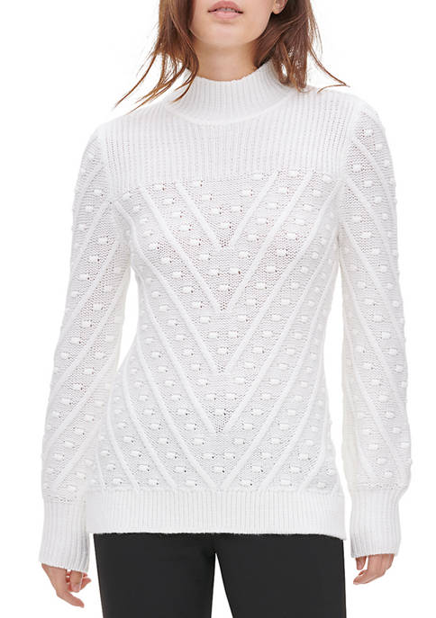 Calvin Klein Womens Allover Popcorn Mock Neck Sweater