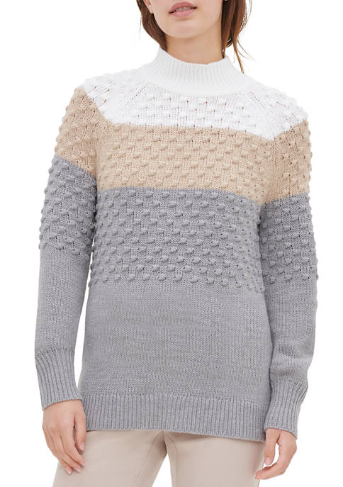 Calvin Klein Womens Color Block Popcorn Sweater
