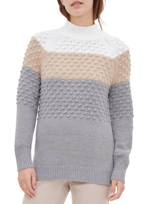 Calvin Klein Womens Color Block Popcorn Sweater