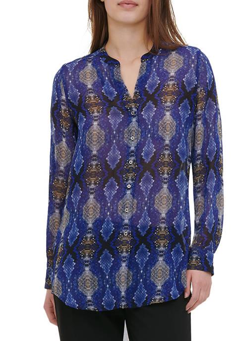 Calvin Klein Womens Printed Roll Sleeve Tunic