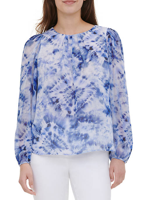 Womens Blouson Sleeve Printed Blouse