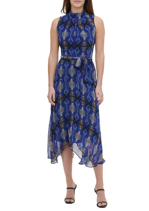 Calvin Klein Womens Sleeveless Snake Print Dress