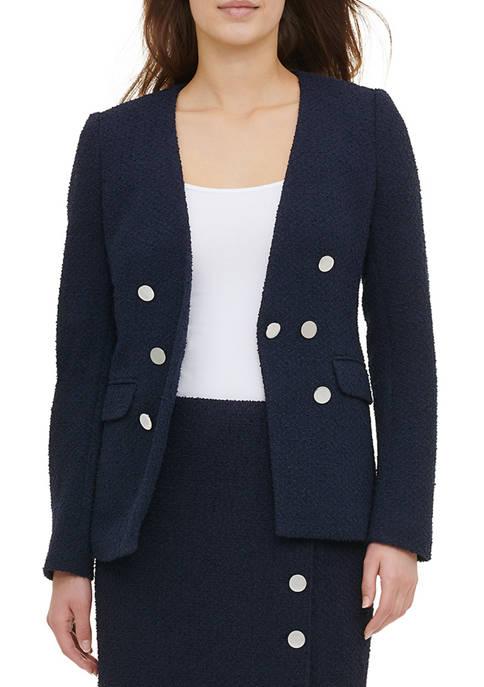 Womens Tweed 7-Button Blazer