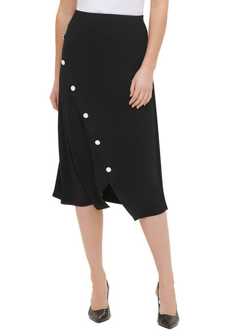 Calvin Klein Womens Diagonal Hardware Skirt