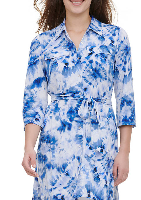 Calvin Klein Womens Roll Sleeve Printed Tunic