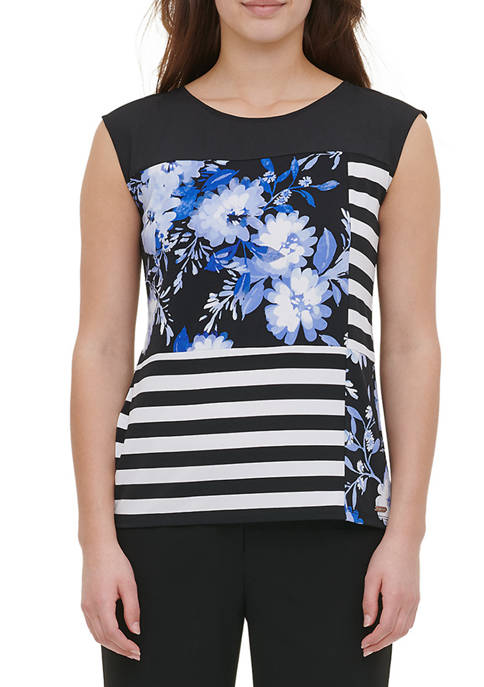 Calvin Klein Womens Sleeveless Mix Stripe and Printed