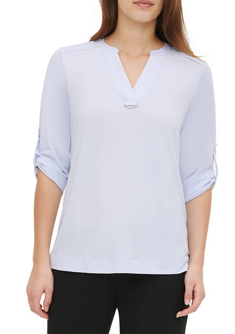 Calvin Klein Womens Roll Sleeve Mix Media Blouse