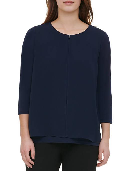 Calvin Klein Womens Chiffon Overlay Mix Media Knit