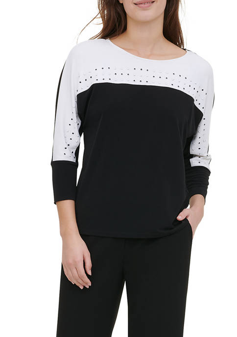 Womens Color Block Studded Knit Pullover