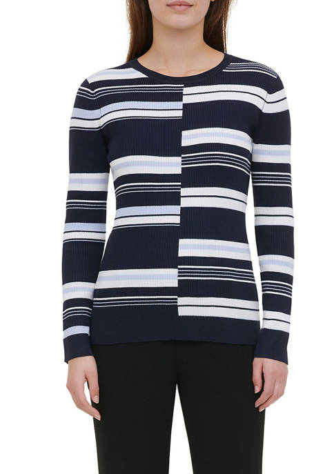 Calvin Klein Womens Ribbed Striped Sweater