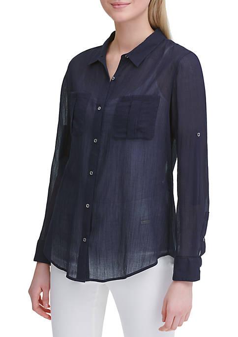 Calvin Klein Crinkled Roll Sleeve Cotton Shirt