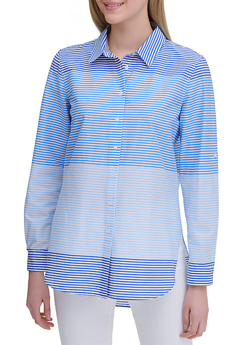 Calvin Klein Striped Cotton Boyfriend Shirt