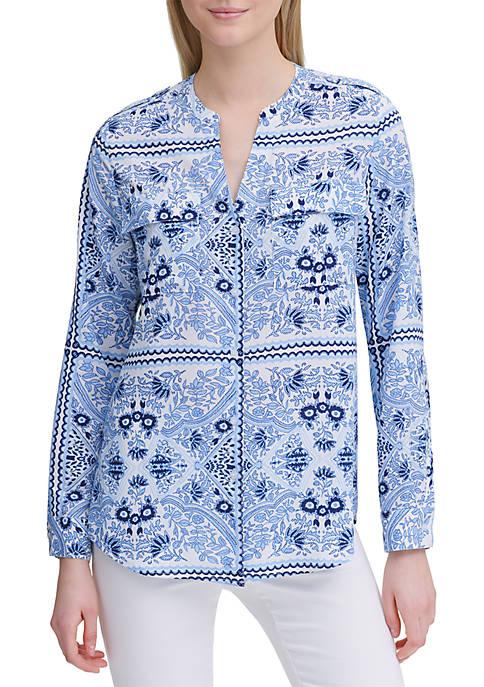 Calvin Klein Bandana Print Roll Sleeve Shirt