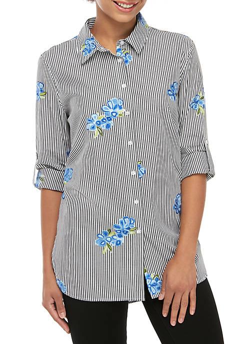 Calvin Klein Floral Embroidered Stripe Boyfriend Shirt