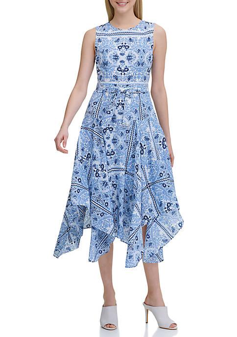 Maggy London Printed Asymmetrical Hem Dress Belk