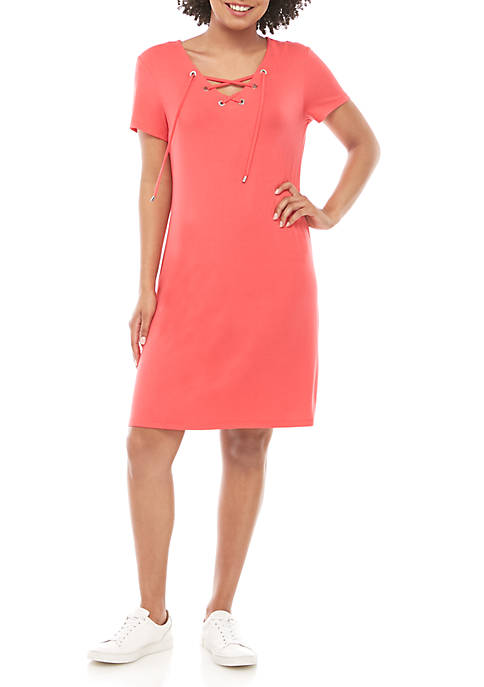 Calvin Klein Grommet Lace Up T Shirt Dress