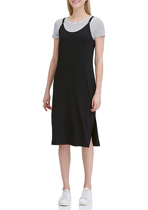 Calvin Klein Cami Mid Dress with Stripe T