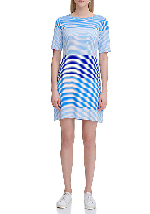 Calvin Klein Stripe Pocket T Shirt Dress