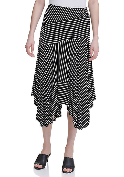 Calvin Klein Stripe Handkerchief Hem Knit Skirt