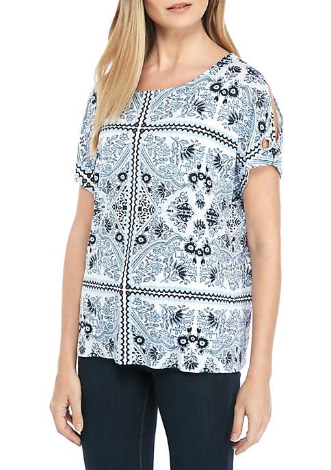 Calvin Klein Printed Split Sleeve T Shirt