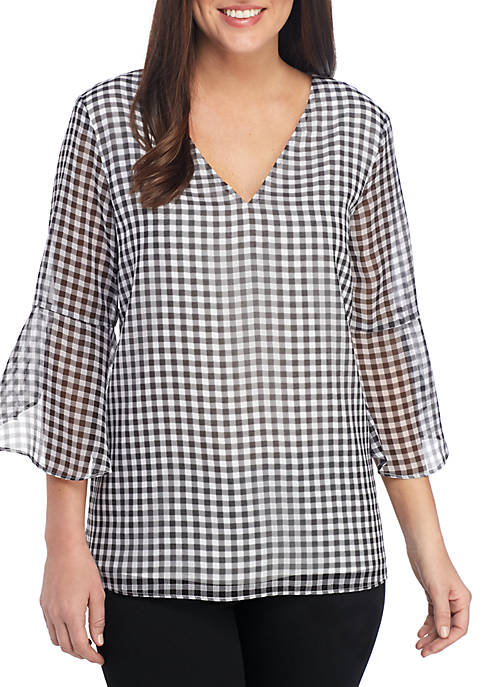 Calvin Klein Essential Flare Sleeve Gingham Blouse