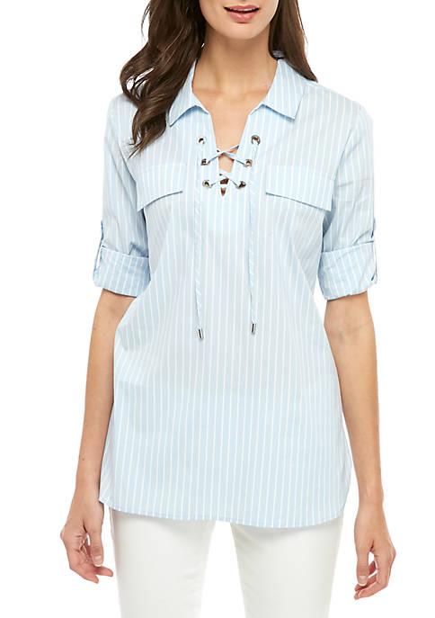 Lace Up Stripe Shirt