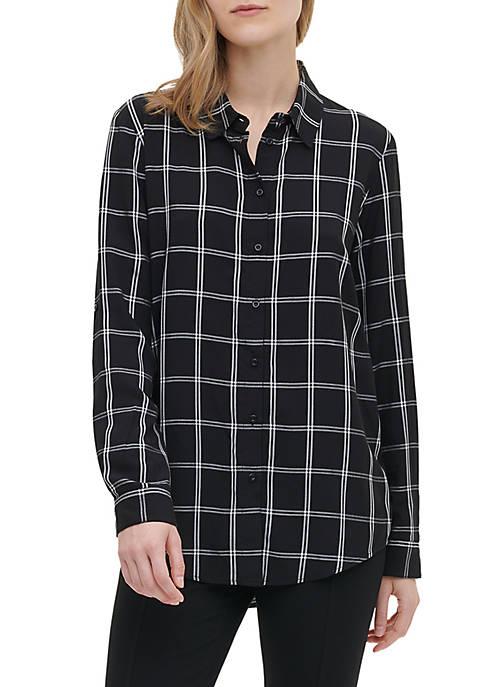 Womens Windowpane Boyfriend Shirt