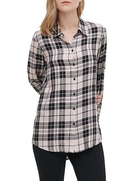Calvin Klein Womens Plaid Boyfriend Shirt