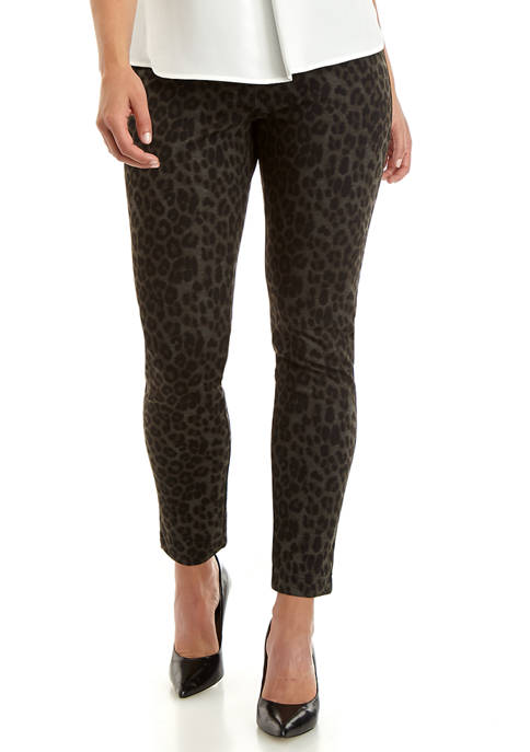 Calvin Klein Womens Leopard Pull On Ponte Pants