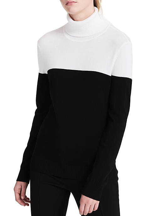 Calvin Klein Womens Color Block Turtleneck Sweater