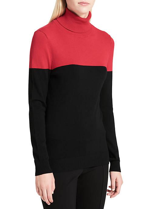 Calvin Klein Womens Color Block Turtleneck Sweater
