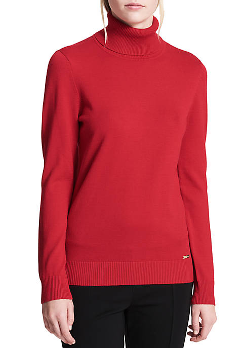 Calvin Klein Womens Fine Gauge Turtleneck Sweater