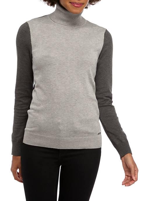 Womens Color Block Turtleneck Sweater