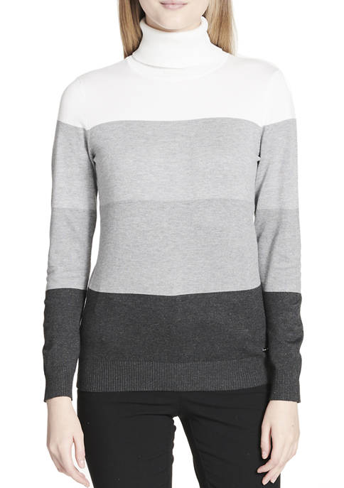 Calvin Klein Womens Ombre Stripe Turtleneck Sweater
