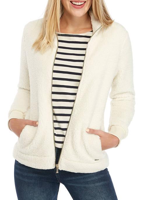 Calvin Klein Womens Stand Collar Sherpa Jacket