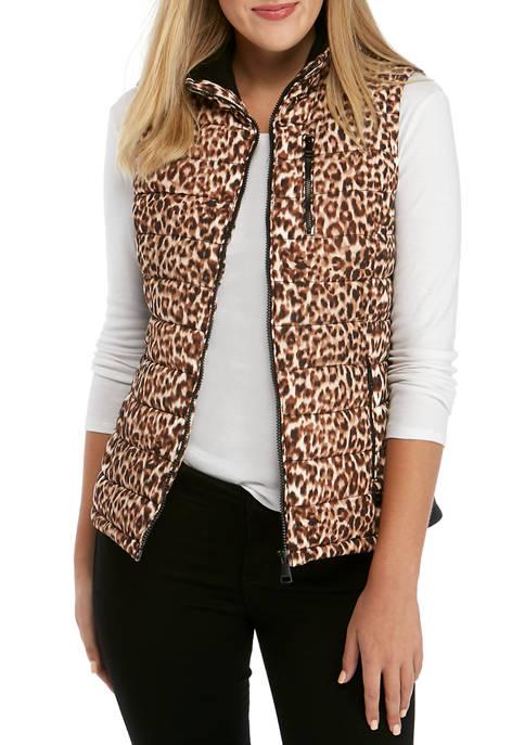 Calvin Klein Womens Leopard Quilt Vest