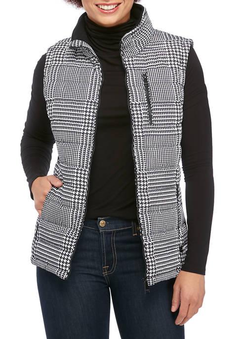 Calvin Klein Womens Glen Plaid Quilted Vest