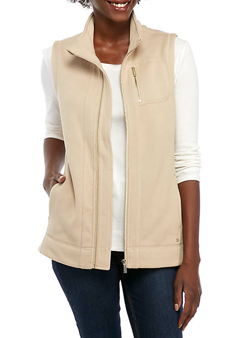 Calvin Klein Womens Solid Fleece Vest