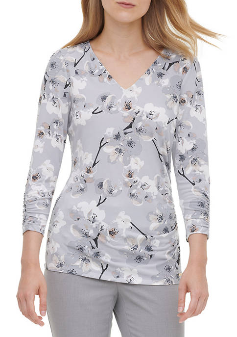 Calvin Klein Womens V-Neck Floral Ruched Sleeve Knit