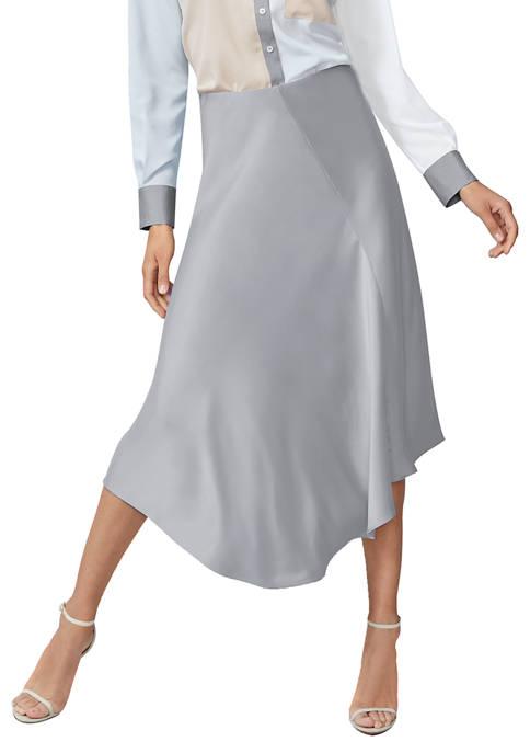 Calvin Klein Womens Charmeuse Asymmetric Skirt