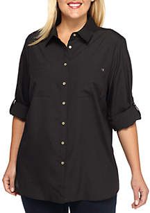 Plus Size High-Low Collared Top